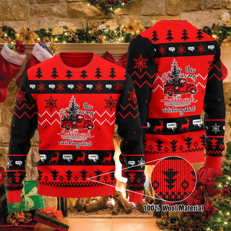 Hallmark Christmas Movie Watching 100% Wool Ugly Sweater