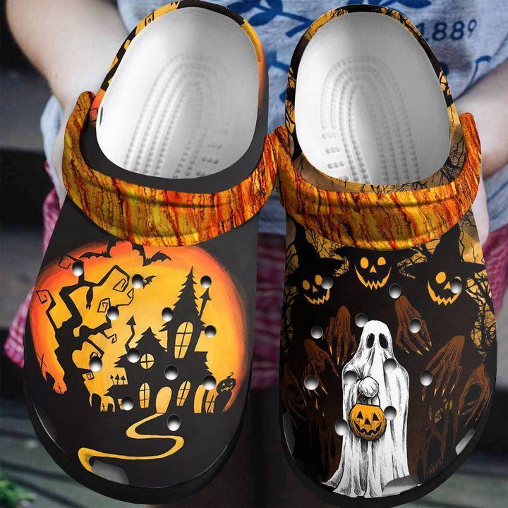 Halloween Ghost Pumpkin Crocs Clog Shoes