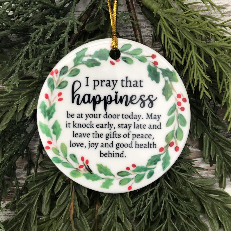 Happiness For Christmas Ornament Religious 2020 Tree Trimming Holiday Covid19 Special Personalized Gifts