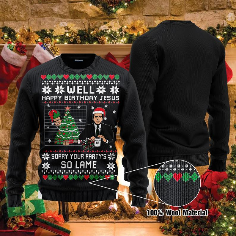 Happy Birthday Jesus Michael Scott The Office Tv Series Christmas 100% Wool Ugly Sweater