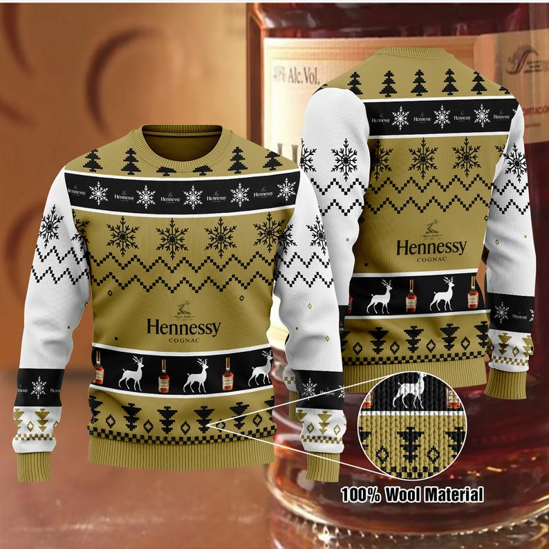 Hennessy Christmas 100% Wool Ugly Sweater