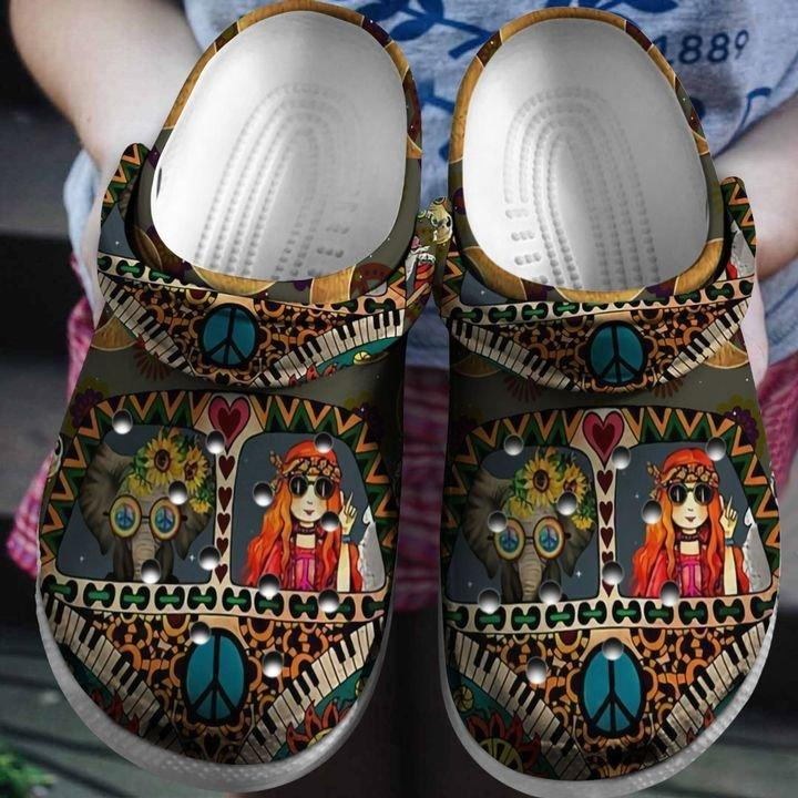 Hippie Girl Camping Bus Crocs Clog Shoes