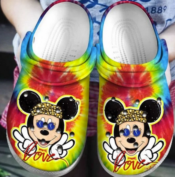 Hippie Mickey Mouse Crocs Clog Shoes