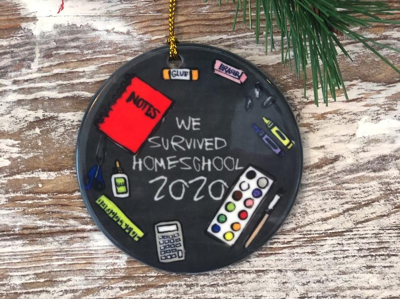 Homeschool Ornament We Survived 2020 Covid Pandemic Virus Covid19 Personalized Gifts
