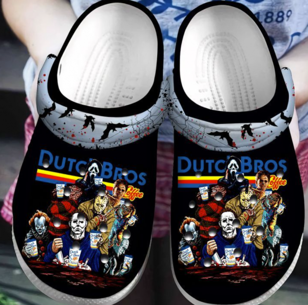 Horror Movie Characters Dutch Bros Coffee Crocs Clog Shoes