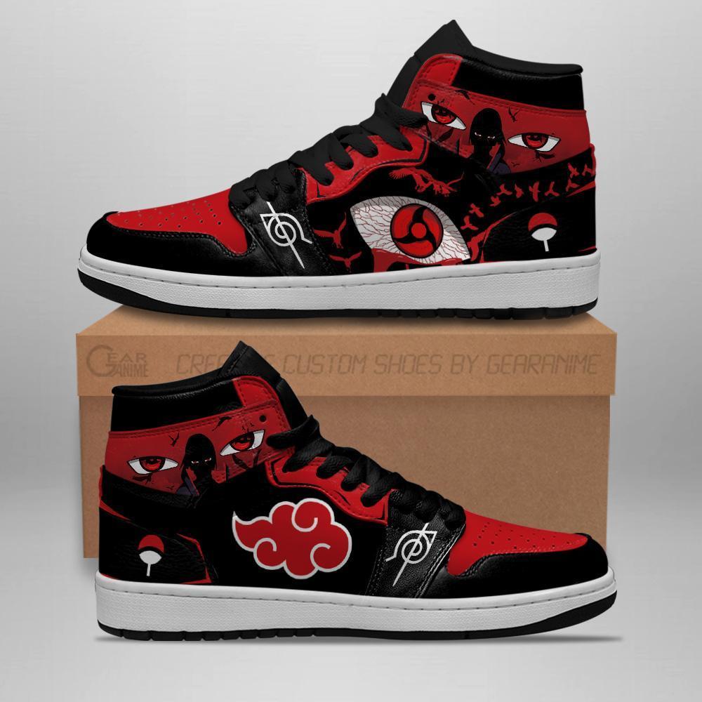 Itachi Akatsuki Sneakers Sharingan Eyes Naruto Anime Air Jordan Shoes