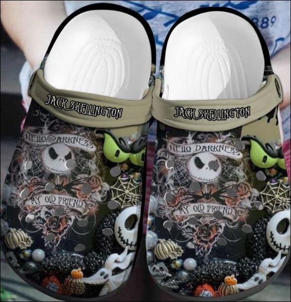 Jack Skellington Hello Darkness My Old Friend Crocs Clog Shoes