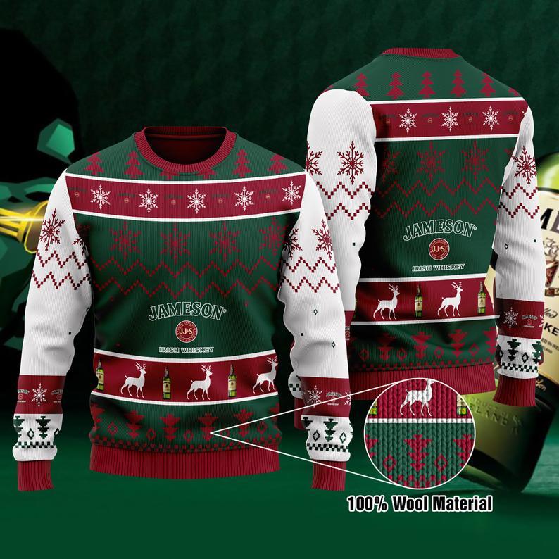 Jameson Irish Whiskey Christmas 100% Wool Ugly Sweater