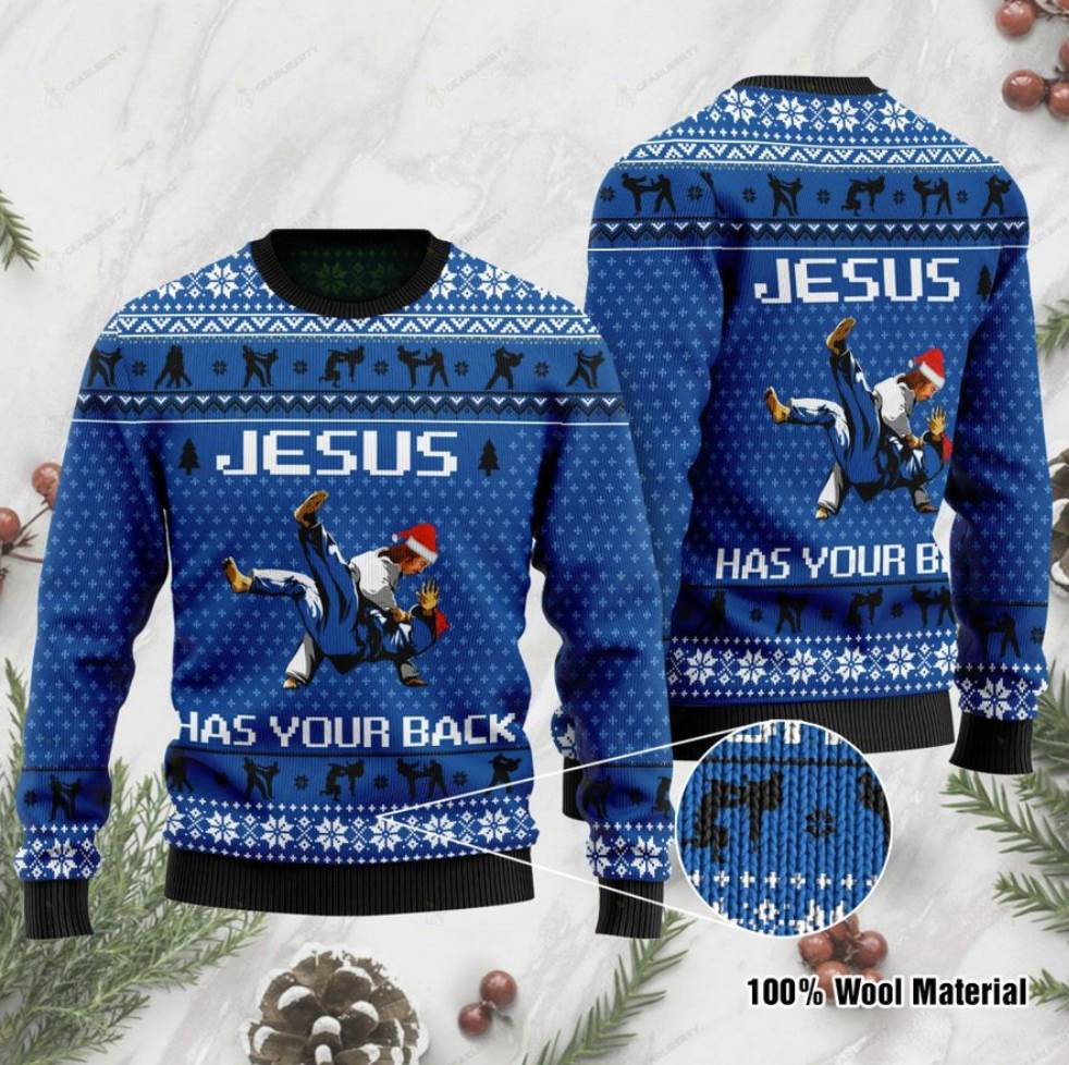 Jesus Has Your Back Judo Ugly Sweater