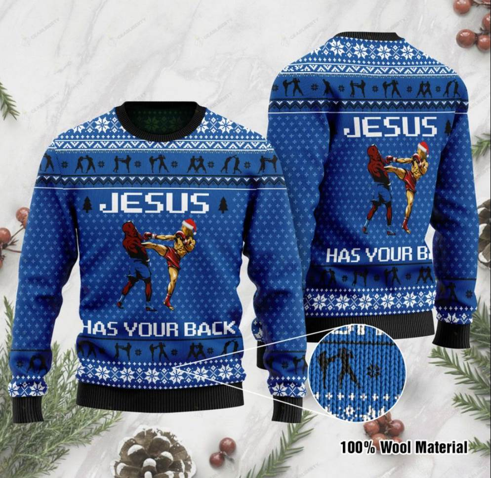 Jesus Has Your Back Muay Thai Ugly Sweater