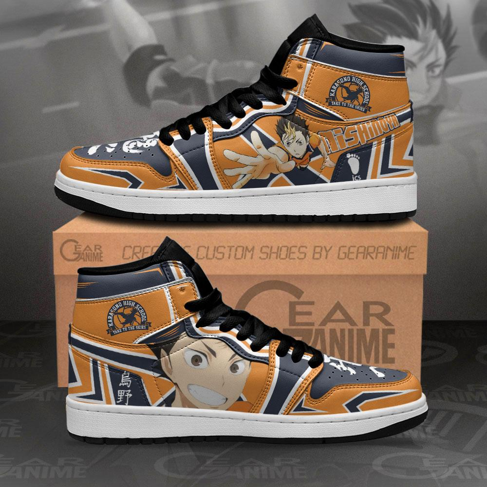 Karasuno Nishinoya Yuu Sneakers Haikyuu Anime Air Jordan Shoes
