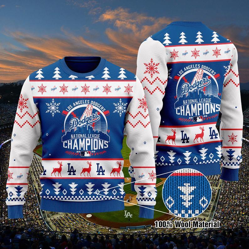 La Dodgers World Series Champions Christmas 100% Wool Ugly Sweater