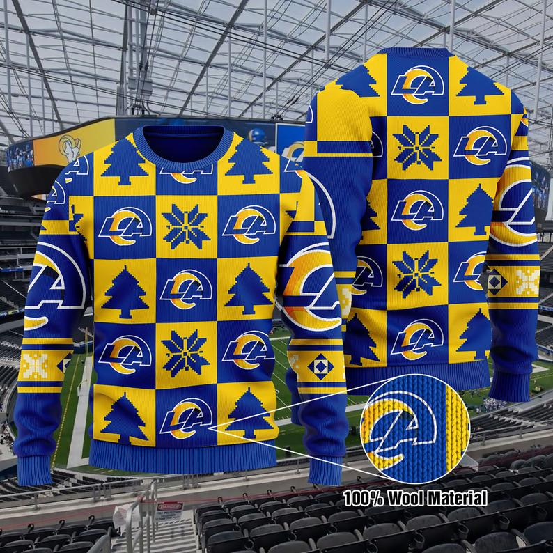 La Rams Football Nfl Christmas 100% Wool Ugly Sweater