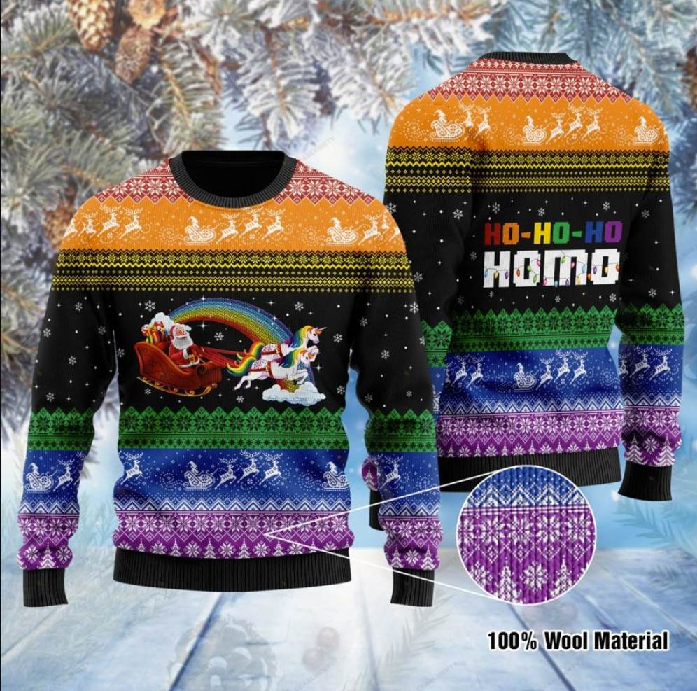 Lgbt Santa Claus And Unicorn Hohoho Homo Ugly Sweater
