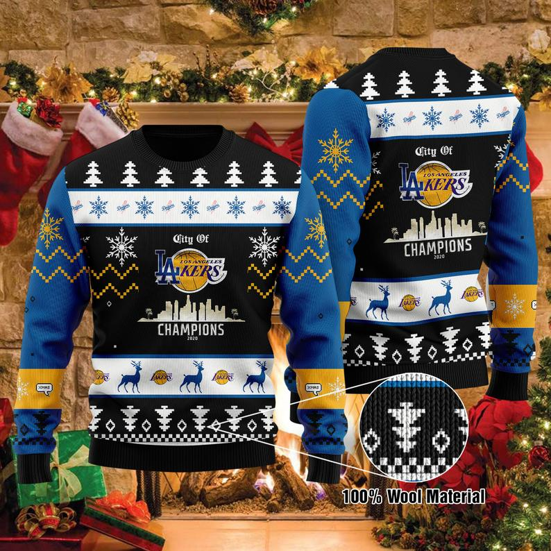 Los Angeles Mixed Lakers La Dodgers City Of Champions Nba Mlb Finals World Series 2020 Ugly Sweater