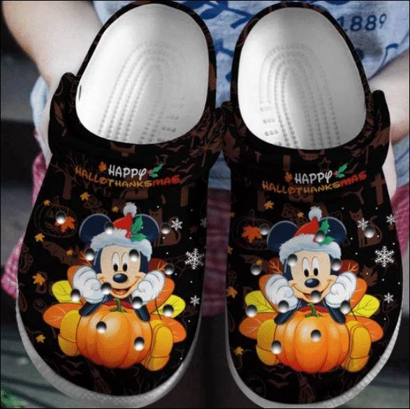 Mickey Mouse Happy Hallothanksmas Crocs Clog Shoes