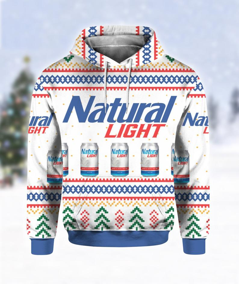 Natural Light Can Beer Print Ugly Hoodie 3D