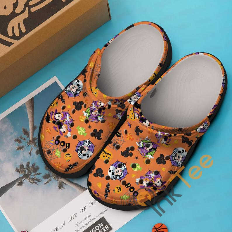 Orange Minnie And Mickey Mouse Couple Boo Halloween Crocs Clog Shoes