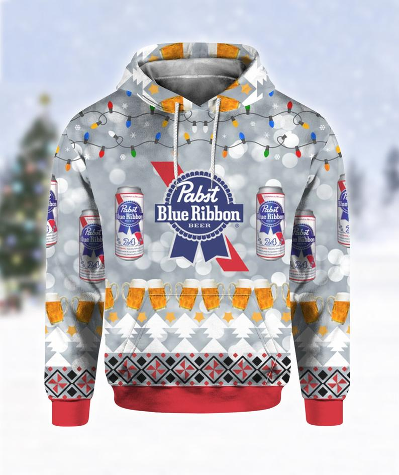 Pabst Blue Ribbon Beer Ugly Sweater
