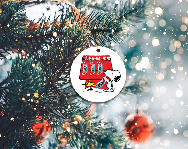 Peanuts 2020 Ornament Funny Covid Custom Christmas Decor Mask Holiday Ornaments Snoopy Personalized Gifts