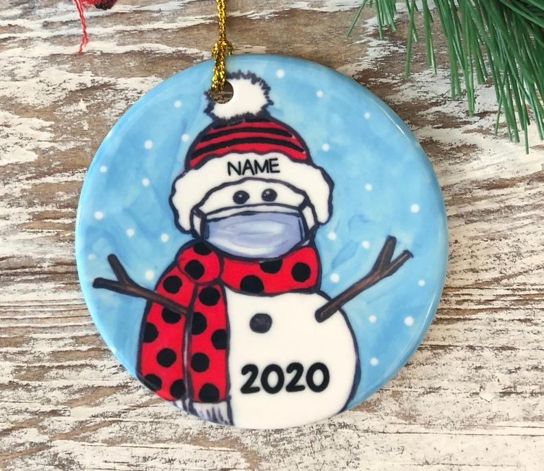 Personalized Covid Snowman With Mask Black And Red School Colors Name Ornament Pride Christmas Graduation 2020 Personalized Gifts