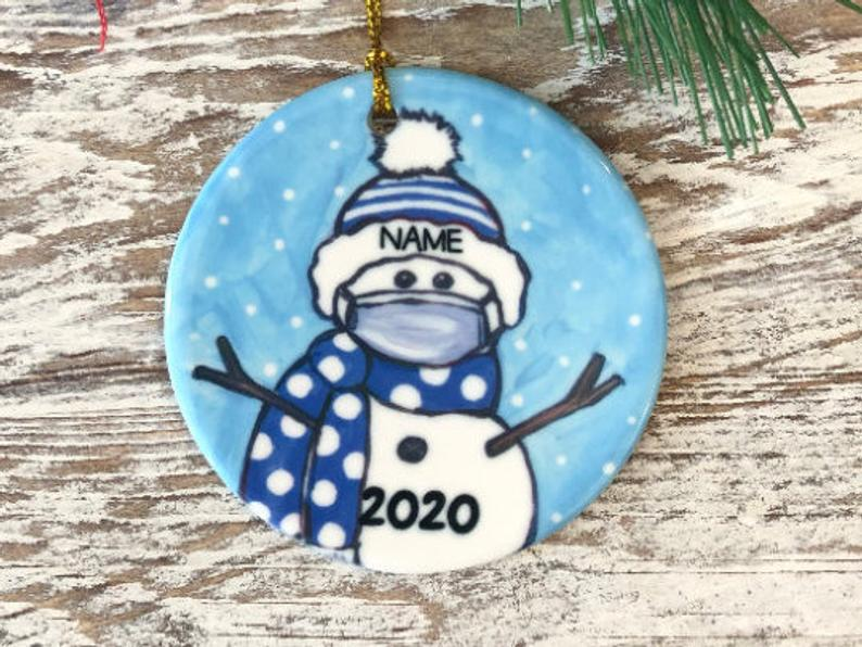 Personalized Covid Snowman With Mask Blue And White School Colors Name Ornament Pride Christmas Graduation 2020 Personalized Gifts