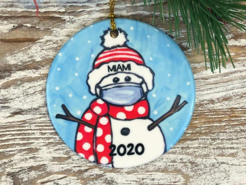 Personalized Covid Snowman With Mask Red And White School Colors Name Ornament Pride Christmas Graduation 2020 Personalized Gifts