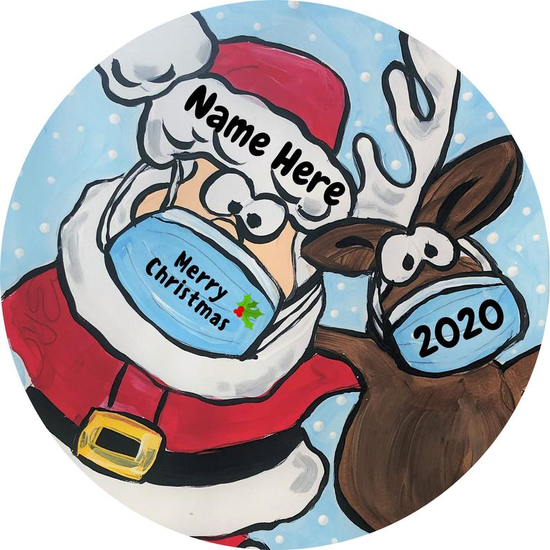 Personalized With Name Covid Ornament Santa And Reindeer Mask Christmas Pandemic Holiday 2020 Virus Covid19 Personalized Gifts