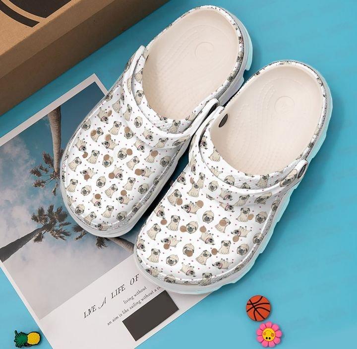 Pug And Heart Sku 1940 Crocs Clog Shoes