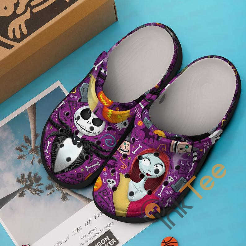 Purple Jack Skellington And Sally The Nightmare Before Christmas Movie Crocs Clog Shoes