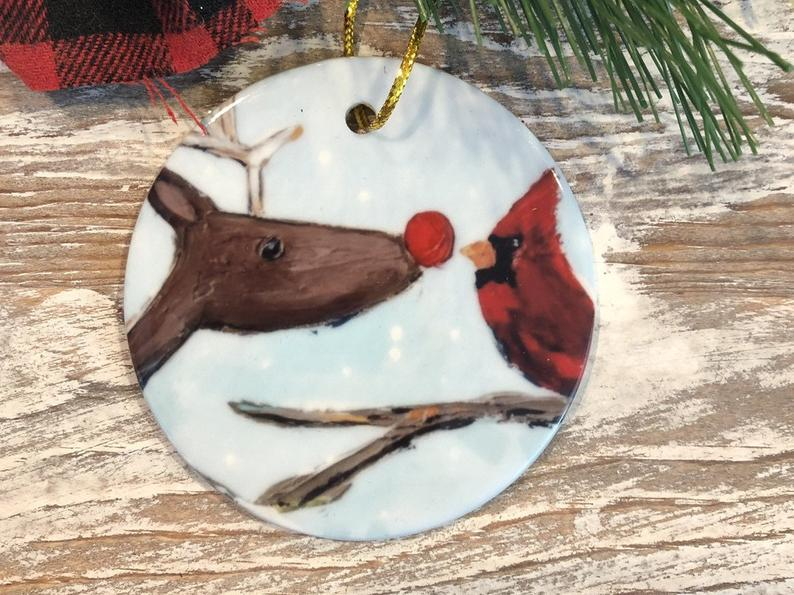 Reindeer And Cardinal Christmas Ornament Tree Trimmingholiday Meaningful Personalized Gifts