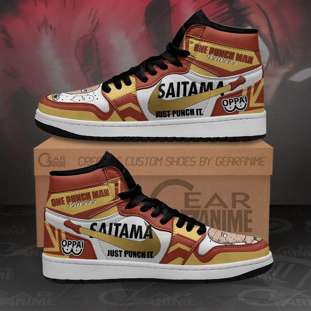 Saitama Sneakers Just Punch It One Punch Man Anime Air Jordan Shoes