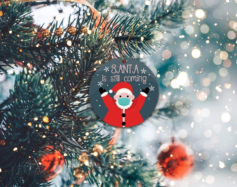 Santa 2020 Ornament Funny Covid Custom Christmas Decor Mask Holiday Ornaments No18 Personalized Gifts