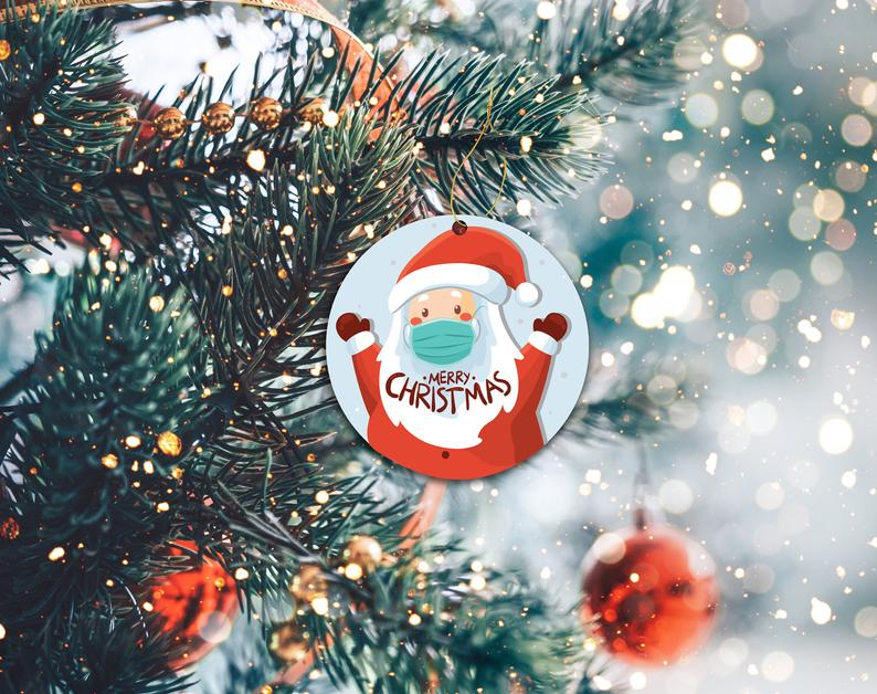 Santa 2020 Ornament Funny Covid Custom Christmas Decor Mask Holiday Ornaments Personalized Gifts