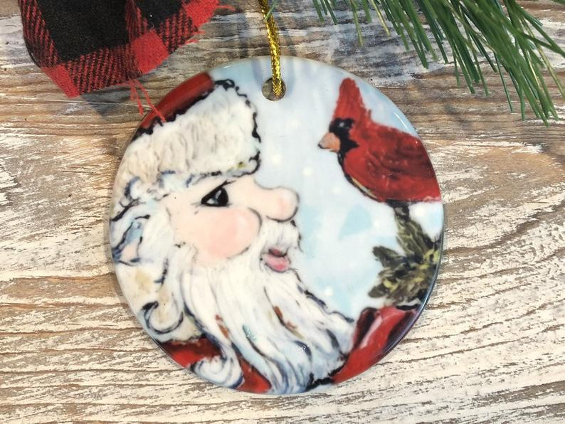 Santa And Cardinal Christmas Ornament Tree Trimming Holiday Meaningful Personalized Gifts
