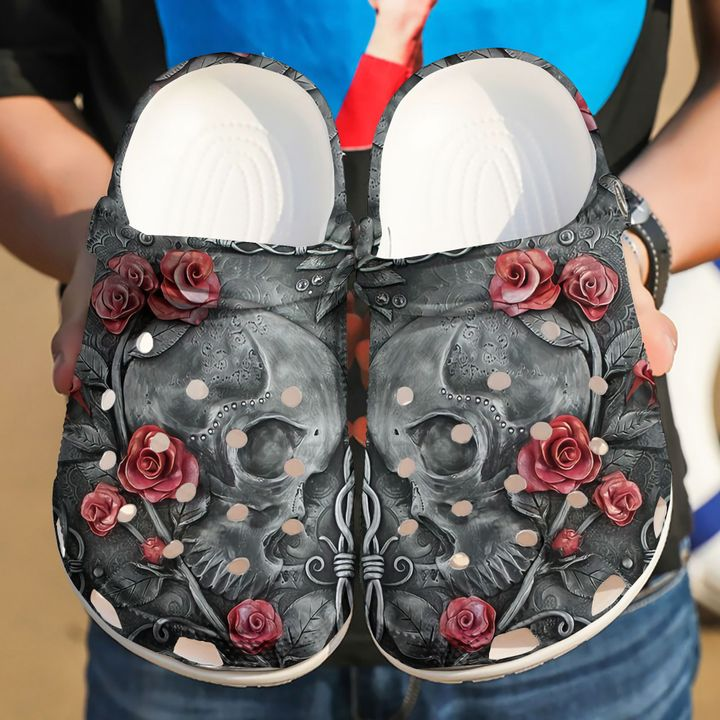 Skull A Kiss From The Rose Sku 2150 Crocs Clog Shoes