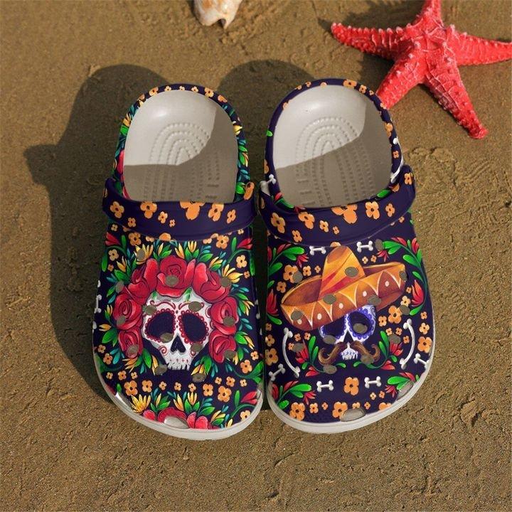 Skull Couple Sku 2203 Crocs Clog Shoes