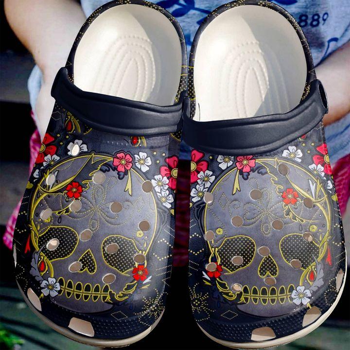 Skull Floral Sku 2159 Crocs Clog Shoes
