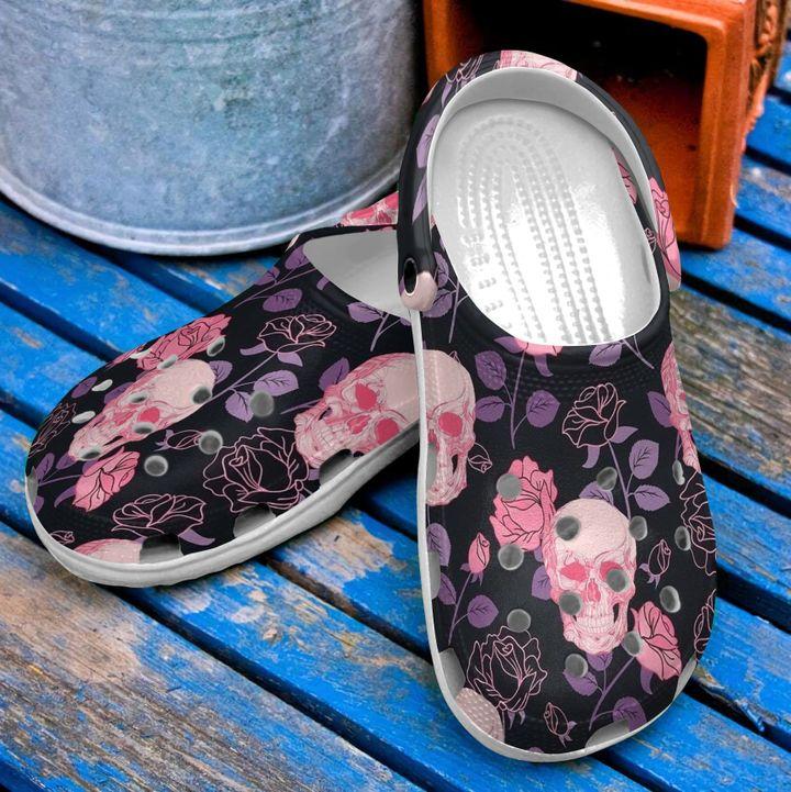 Skull Pink Flower Sku 2199 Crocs Clog Shoes