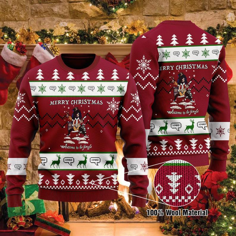 Slash Musician Gun N Rose Christmas 100% Wool Ugly Sweater