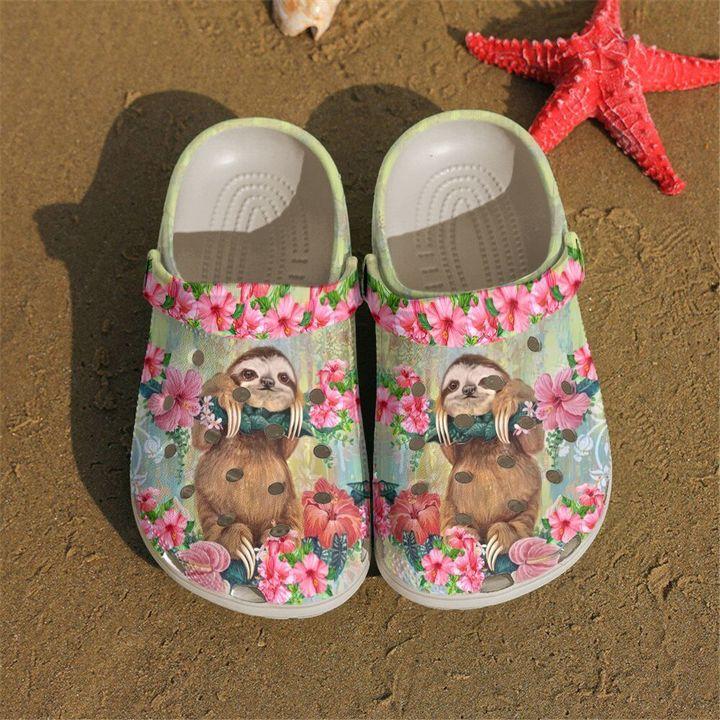 Sloth Floral Sku 2238 Crocs Clog Shoes