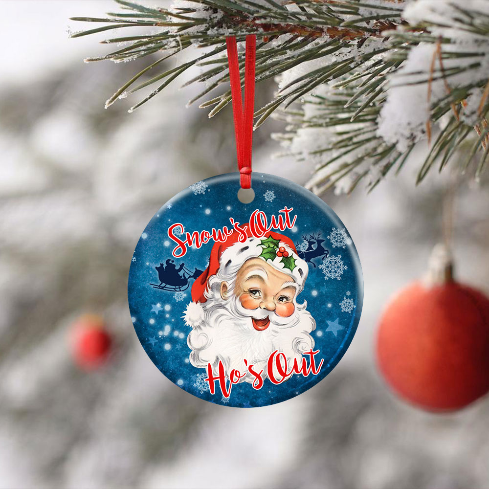 Snow�s Out Ho�s Out Santa Claus Christmas Ceramic Circle Ornament Personalized Gifts