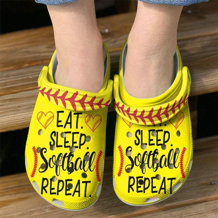 Softball Eat Sleep Sku 2287 Crocs Clog Shoes