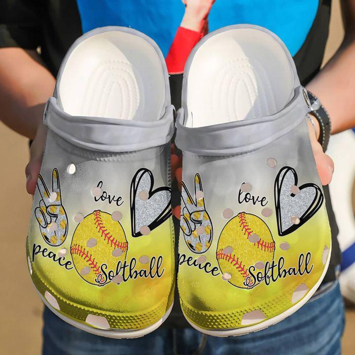 Softball Peace Love Sku 2296 Crocs Clog Shoes