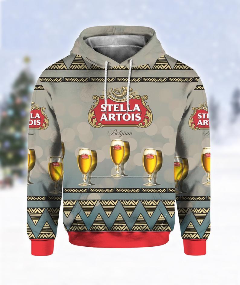 Stella Artois Beer Print Ugly Christmas Hoodie 3D