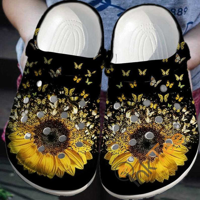 Storm Butterfly With Sunflower Crocs Clog Shoes