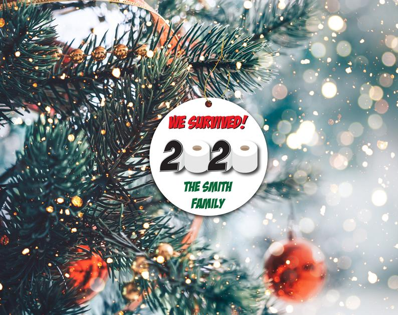 Survived 2020 Ornament Funny Covid Custom Christmas Decor Mask Holiday Ornaments Personalized Gifts