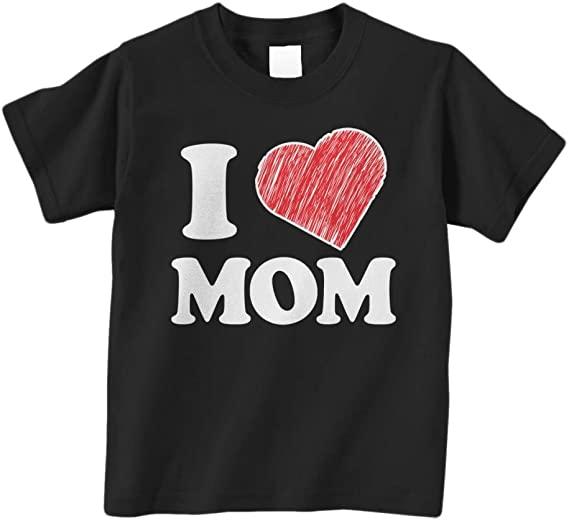 Threadrock Little Boys' I Love Mom Men's T Shirt