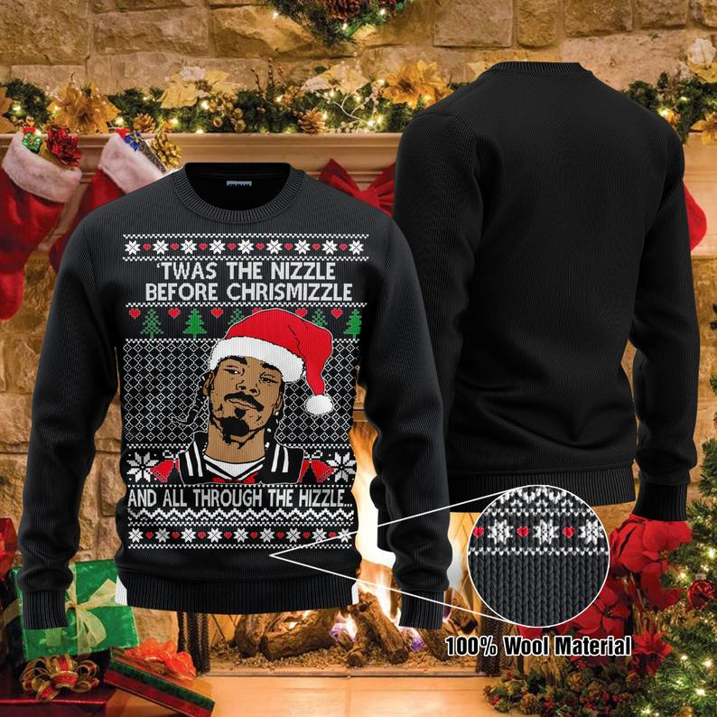 Twas The Nizzle Before Christmizzle Snoop Dogg Christmas 100% Wool Ugly Sweater