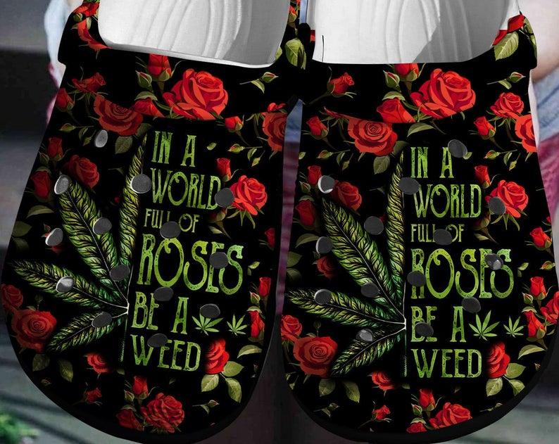 Weed Ros Crocs Clog Shoes